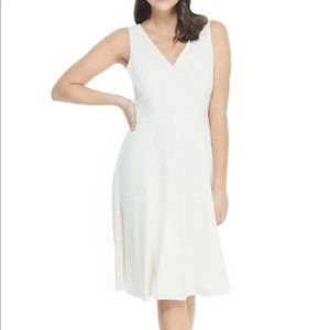 Gal Meets Glam White V-neck Fit & Flare Dress 6